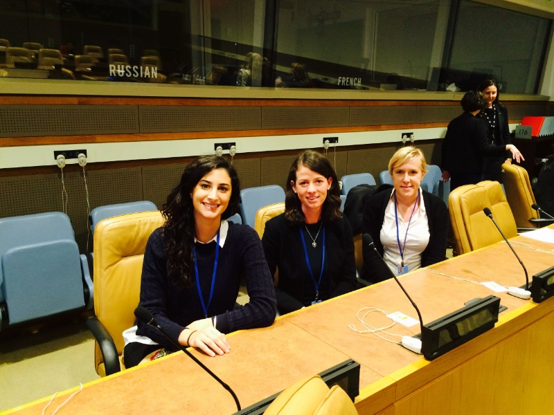 UNCSW60 delegation at the UN HQ in New York. From left to right: Lamisse Hamouda (University of Sydney), Victoria Cook and Renee White (CQU)