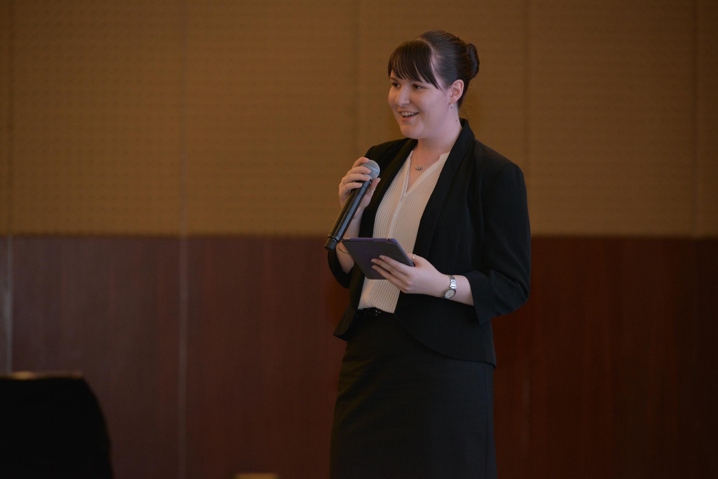 CQU student Rachael Stock presents to the Y20 Summit in China. Photo credit: Y20 China