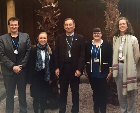 The COP22 delegates pictured here with Janos Pasztor (Senior Advisor to UN Secretary-General Ban Ki-Moon and Senior Fellow at Carnegie Council for Ethics in International Affairs) discussing his current role examining geoengineering governance and his experiences at the United Nations.