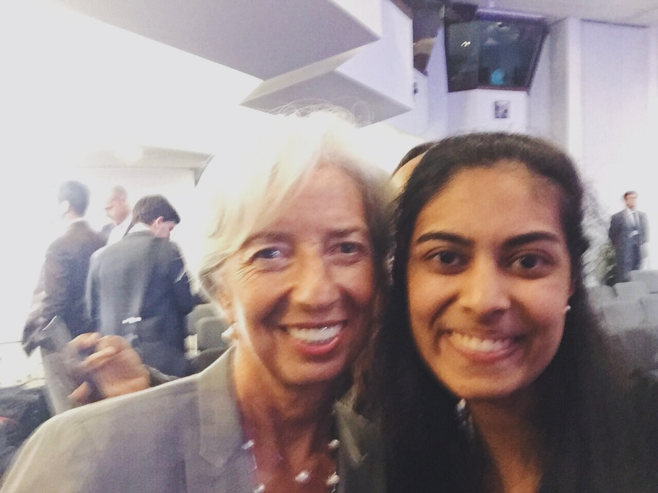 Sonia snapped a selfie with IMF Managing Director, Madame Christine Lagarde.