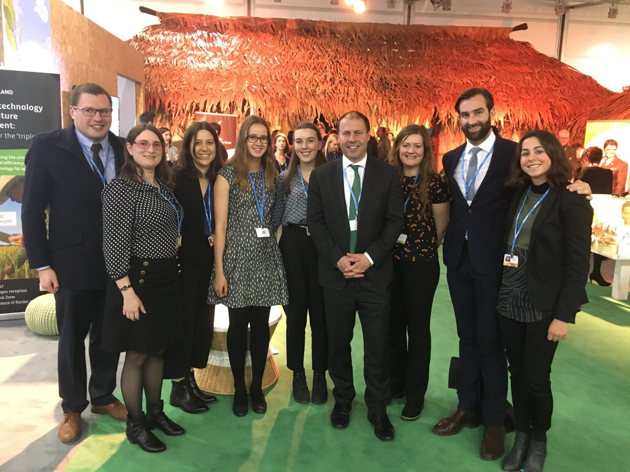 The COP23 delegates and staff meet with Minister Frydenberg at the Fiji Pavilion