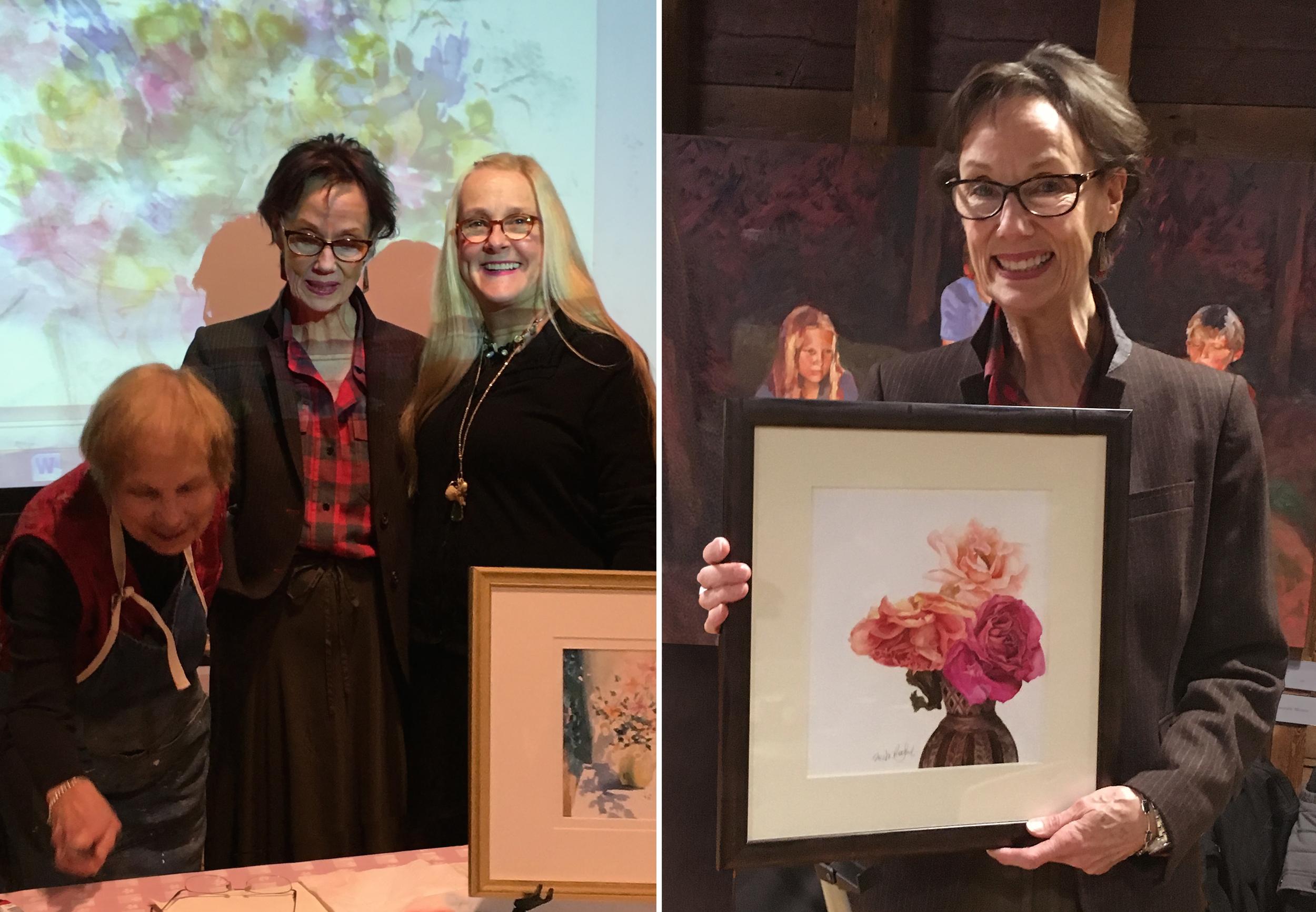 Photo Left Lucy Graves-McVicker, Artist Sheila Redford, Artist Ireen Kudra-Miller, Princeton University Art Museum Docent  Photo Right Sheila Redford, Artist