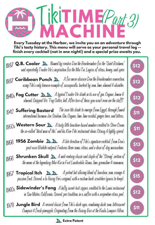Tiki Time Machine - In March (?) 2016, we decided to debut our first Tiki Time Machine menu. Taking inspiration from Pouring Ribbon's