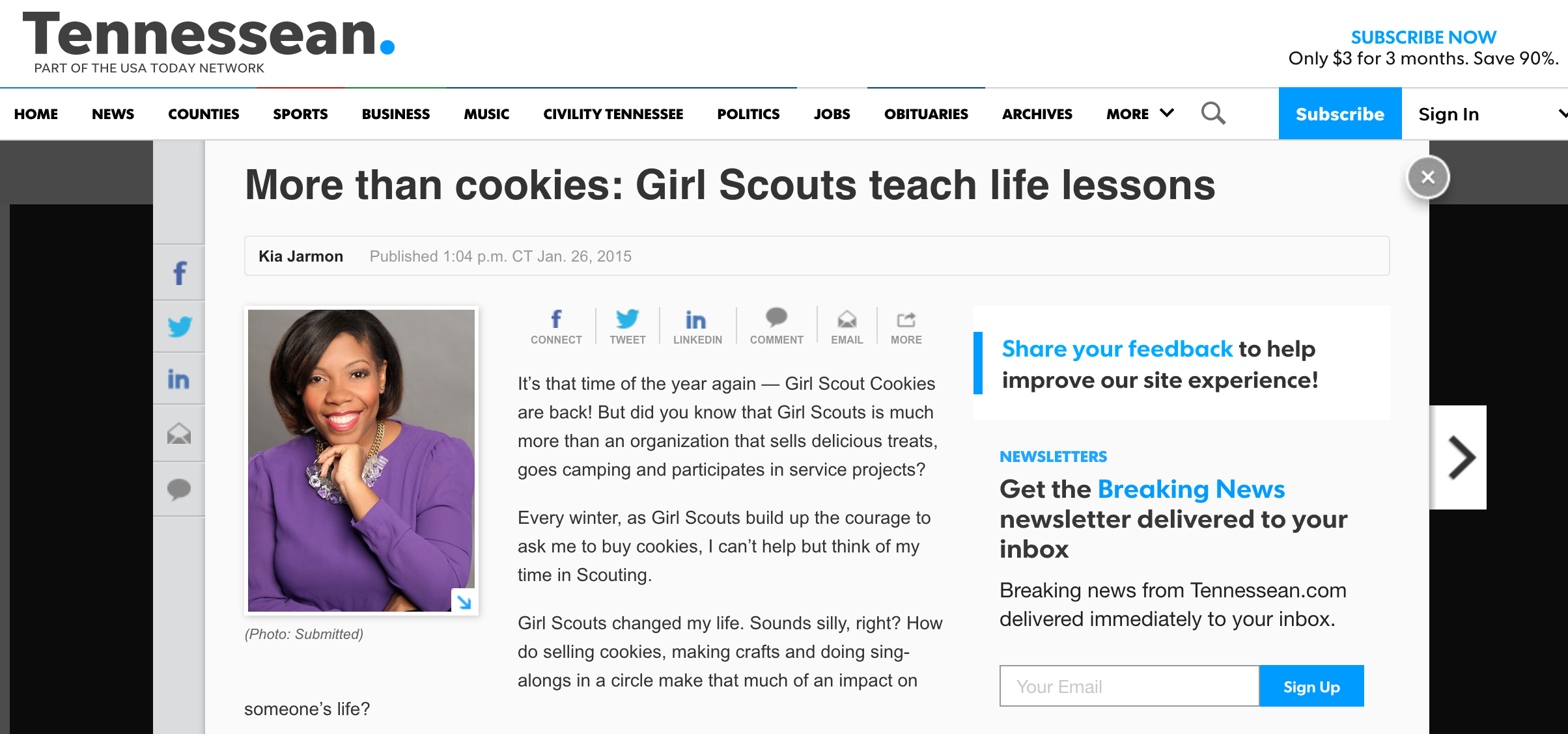 {Tennessean - More than cookies} - Girl Scouts changed my life. Read more from Kia's experience as a lifetime member of Girl Scouting.