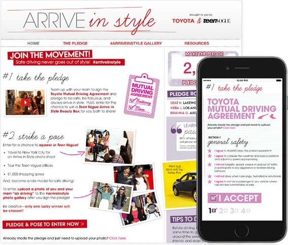 Copy for Teen Vogue's Arrive in Style campaign .