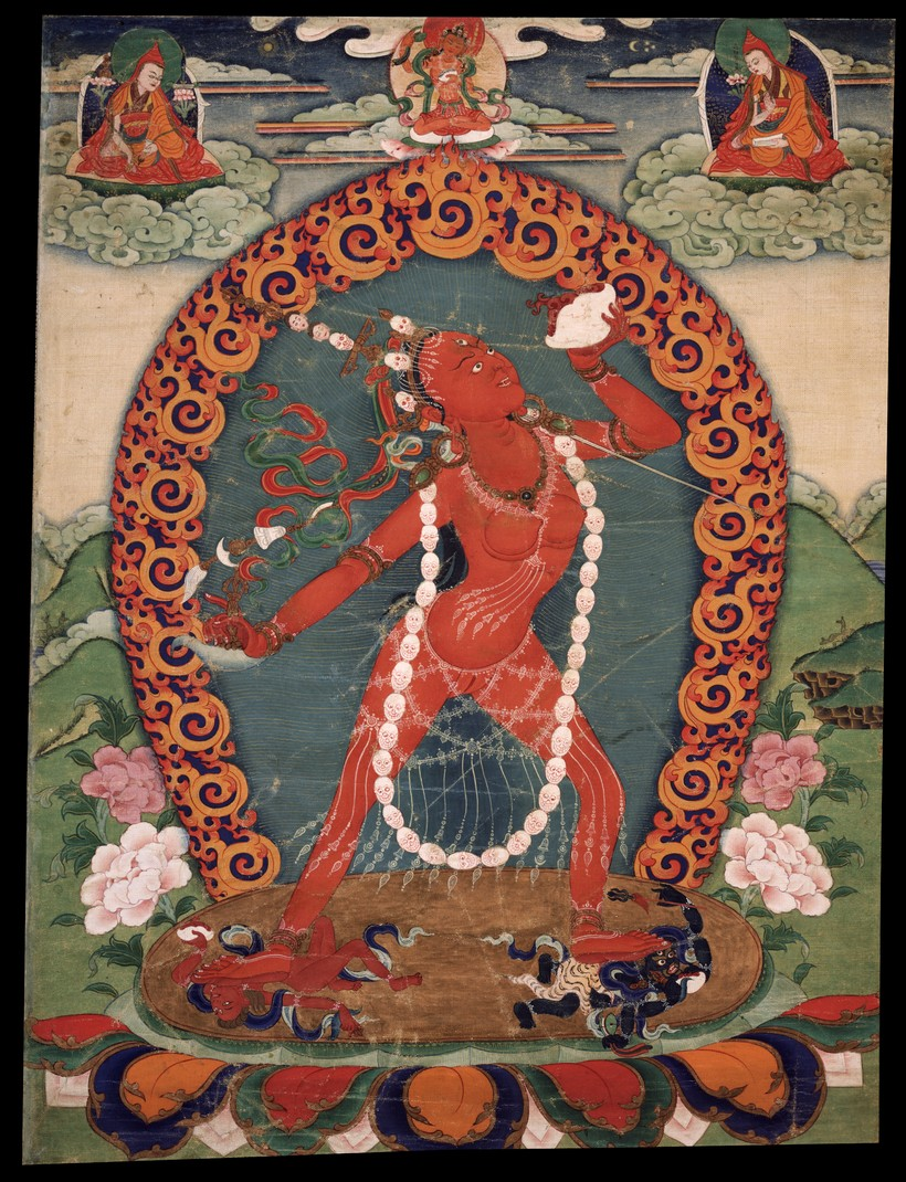 """Vajrayoginī   Buddhist tantric deity, She is often described as carrying the nectar of transmutation """"the  Dakini  who is the Essence of all Buddhas. """"She is a female Buddha and a  Dakini  a transcendent passion that is free of selfishness and illusion — she intensely works for the well-being of others and for the destruction of ego clinging. She is seen as being ideally suited for people with strong passions, providing the way to transform those passions into enlightened virtues. She is an tantra deity and her practice includes methods for preventing ordinary death, intermediate state Bardo and rebirth (by transforming them into paths to enlightenment), and for transforming all mundane daily experiences into higher spiritual paths. Practices associated with her are Chod and the Six Yogas of Naropa."""