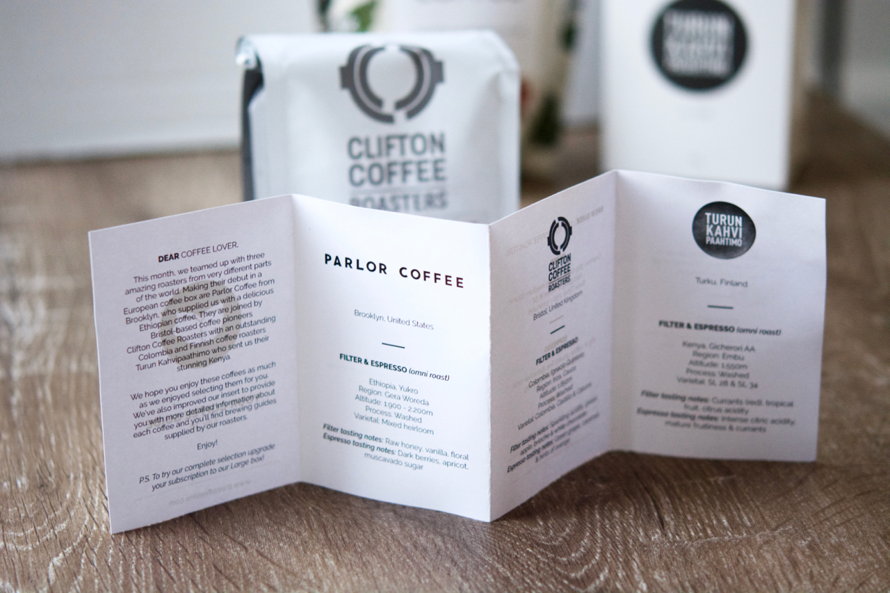 You get a little coffee guide booklet in your box explaining the coffees and brew methods.