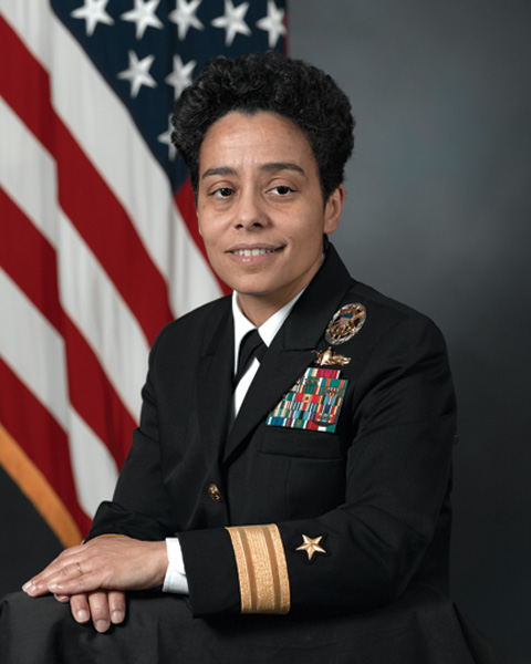 Adm. MICHELLE HOWARD - A United States Navy four-star admiral (the first woman of said rank ever) who currently serves as the 38th Vice Chief of Naval Operations. She's the first African-American woman to command a U.S. Navy ship, the  USS  Rushmore  . In 2006, she was selected for the rank of rear admiral (lower half), making her the first female graduate of the U.S. Naval Academy selected for flag rank.