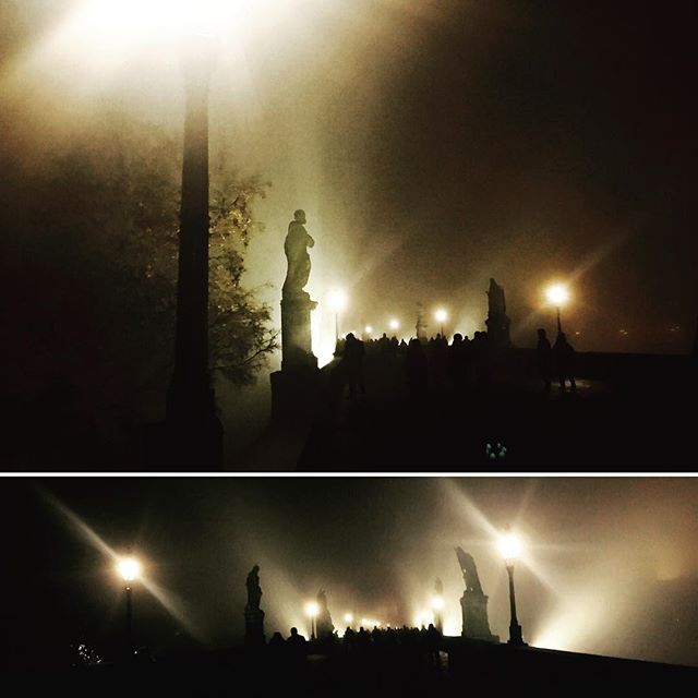 There is some mystery in Prague tonight .... #praha #karluvmost #foggynight
