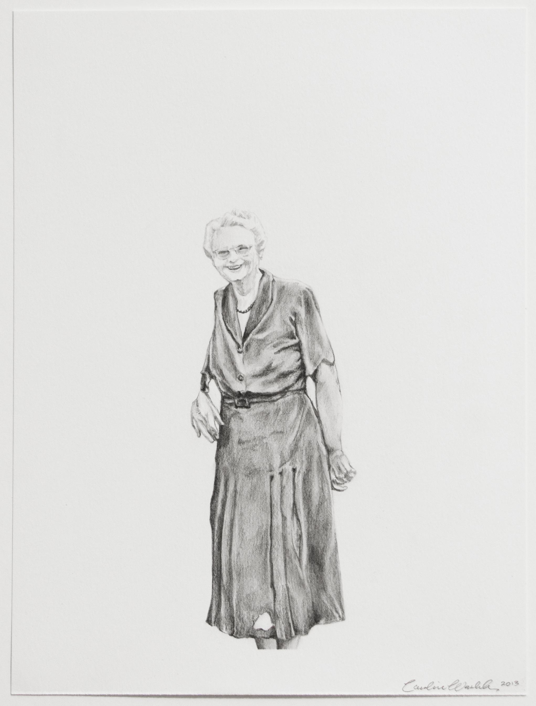 "Pauline, 2013   Graphite on paper   12"" X 9"""