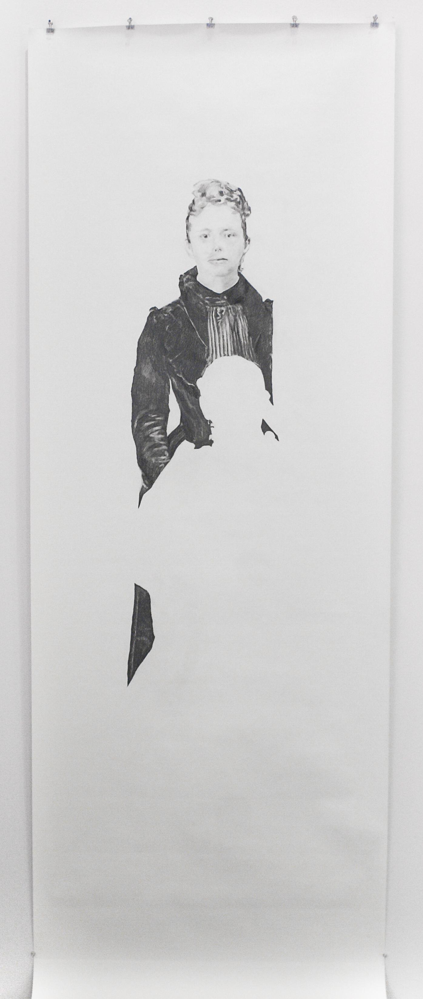 "Visual Heritage, 2012   Etta, graphite on paper scroll   84"" x 36"""