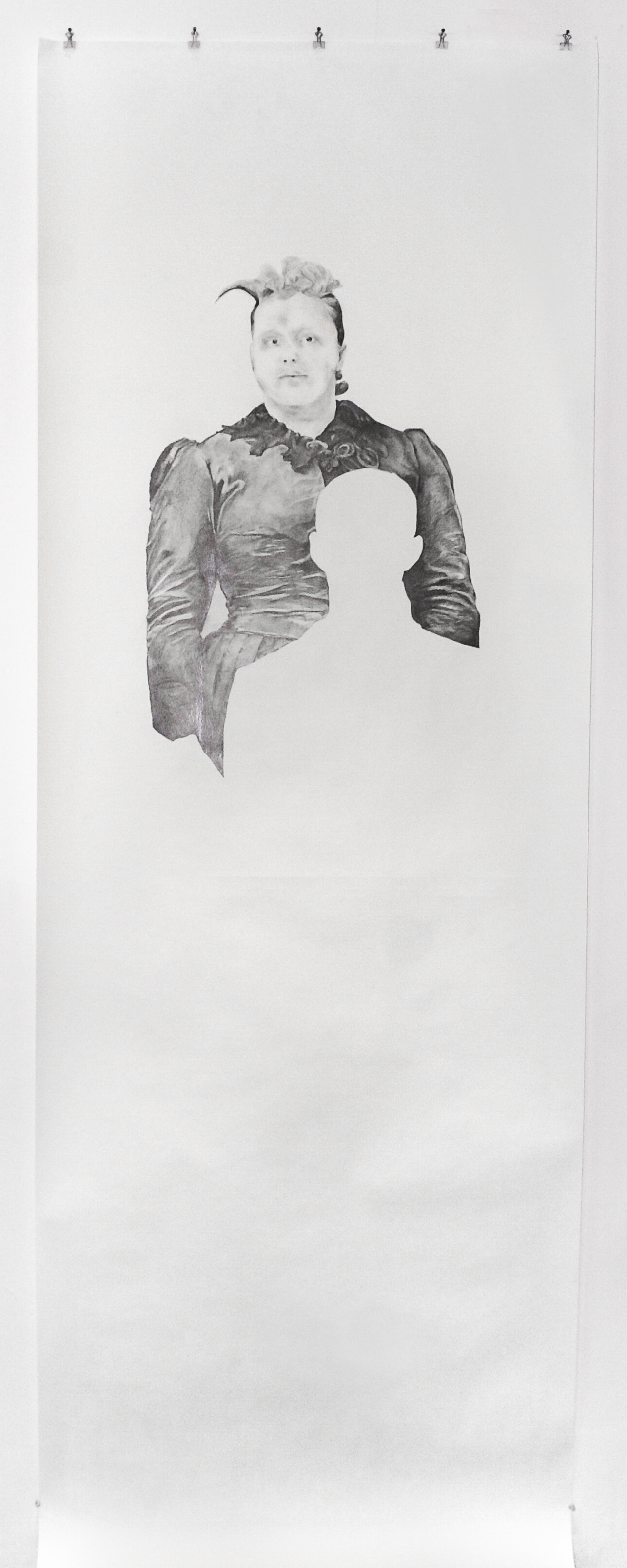 "Visual Heritage, 2012   Lillian, graphite on paper scroll   84"" x 36"""