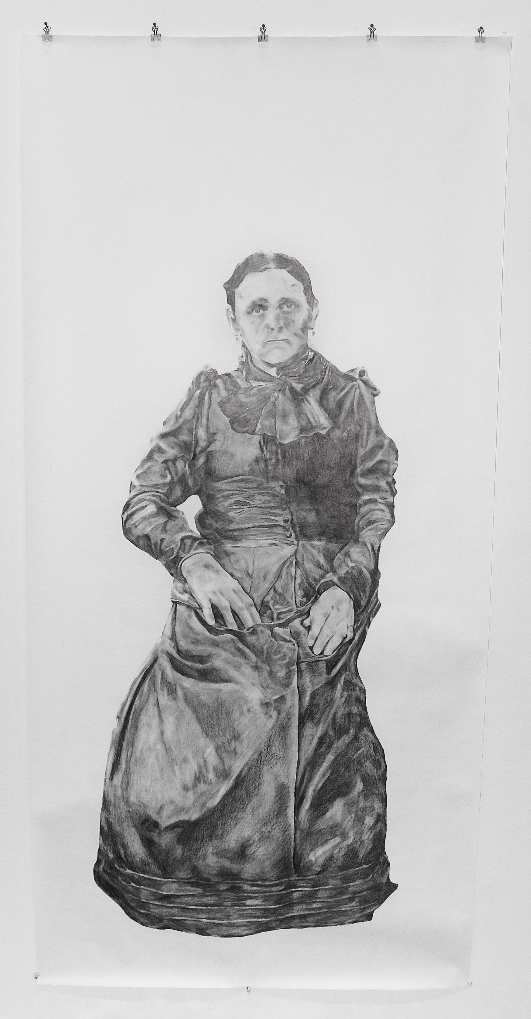 "Visual Heritage, 2012   Malinda, graphite on paper scroll   84"" x 36"""