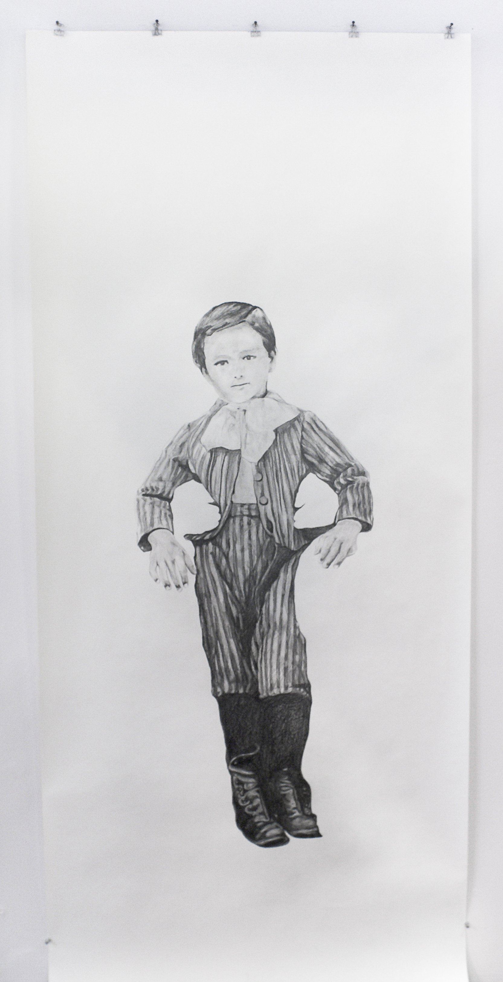 """Visual Heritage, 2012   Fred, graphite on paper scroll   84"""" x 36"""""""