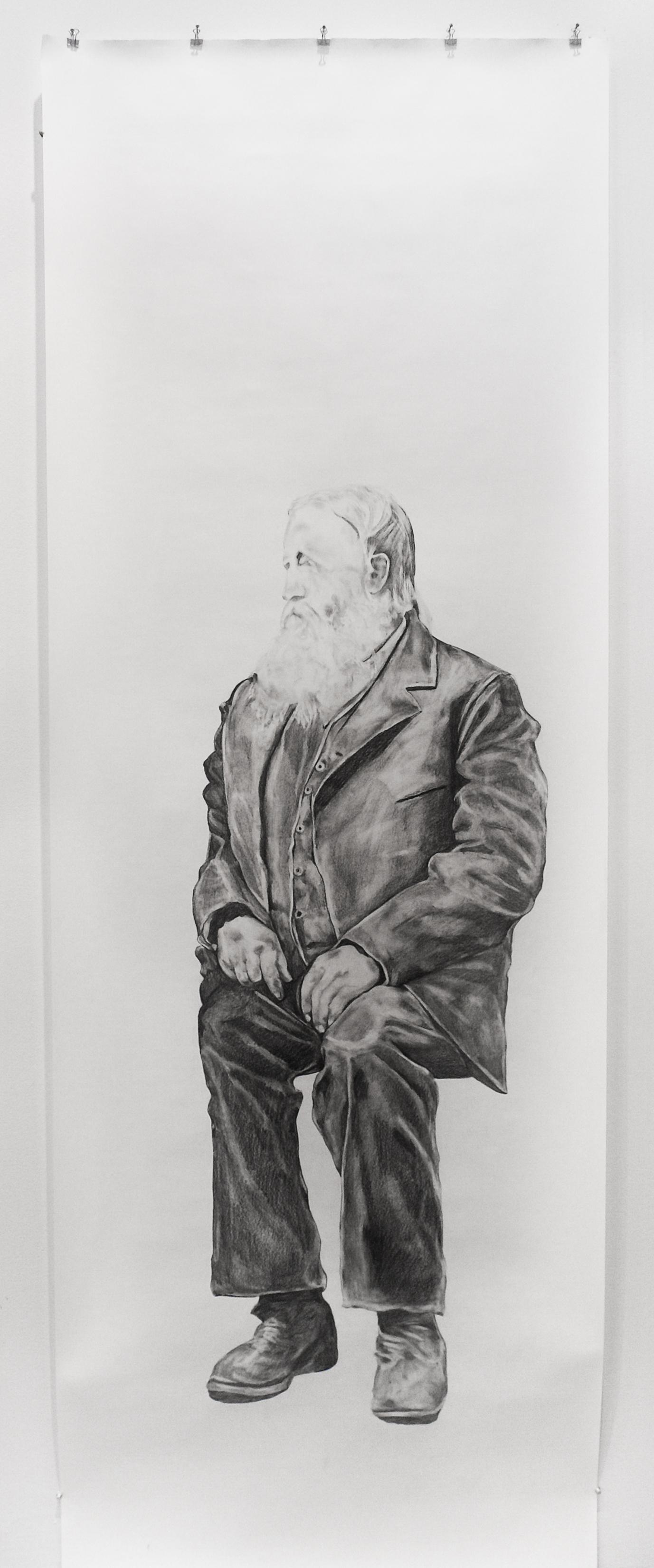 "Visual Heritage, 2012   Elmer, graphite on paper scroll   84"" x 36"""