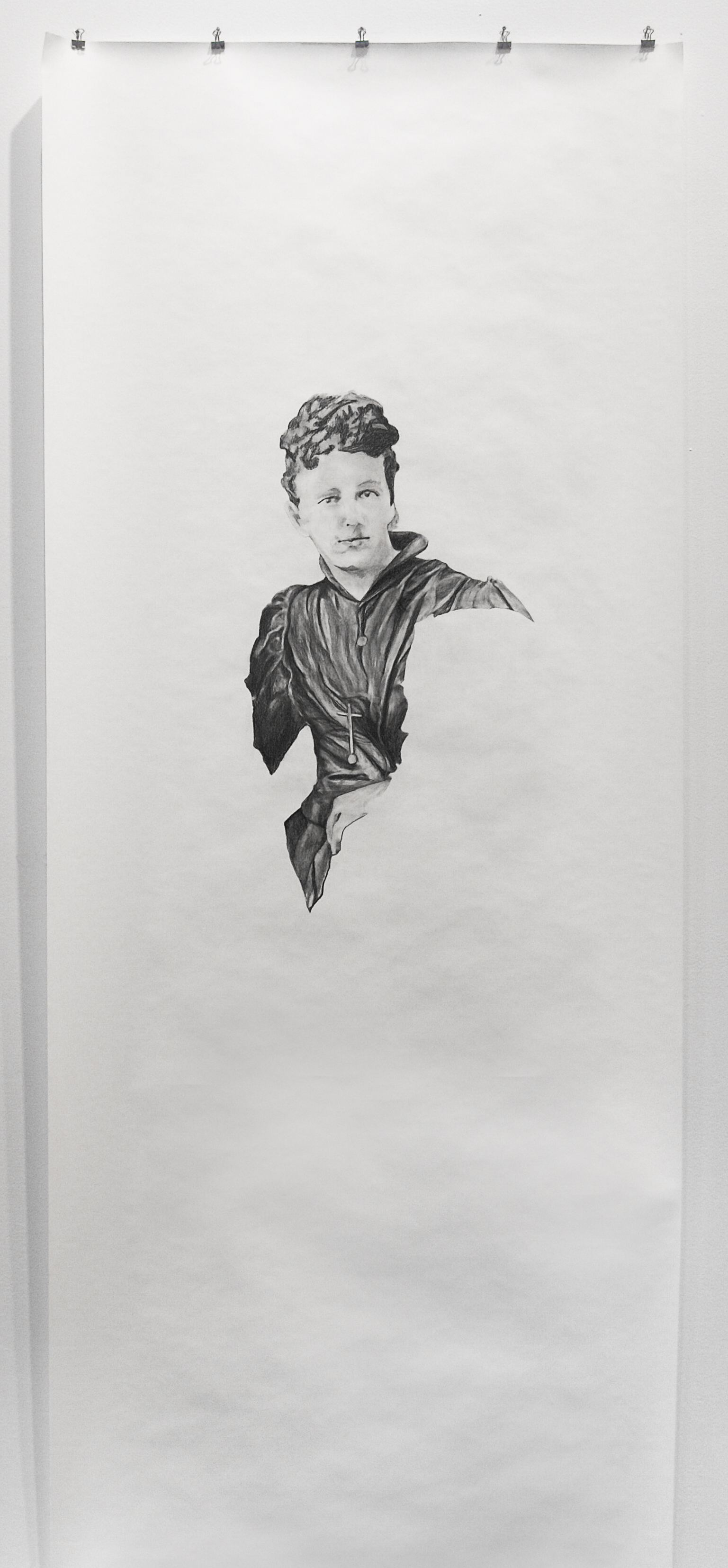 """Visual Heritage, 2012   Unknown, graphite on paper scroll   84"""" x 36"""""""