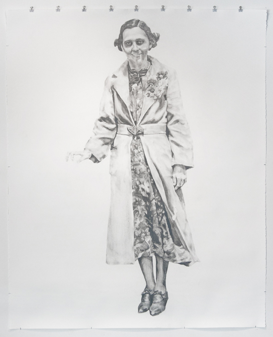 "Viola,  2012   Graphite on paper scroll   60"" x 50"""