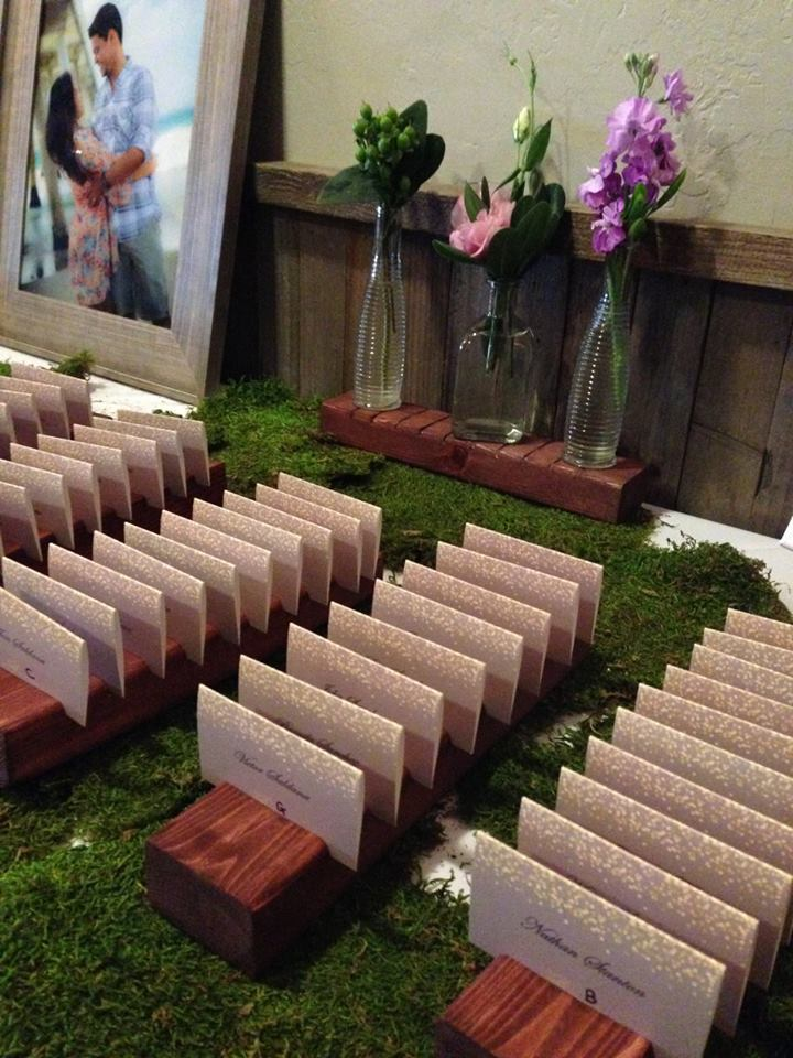 Escort cards in the Redwood Room at Calamigos Ranch in Malibu