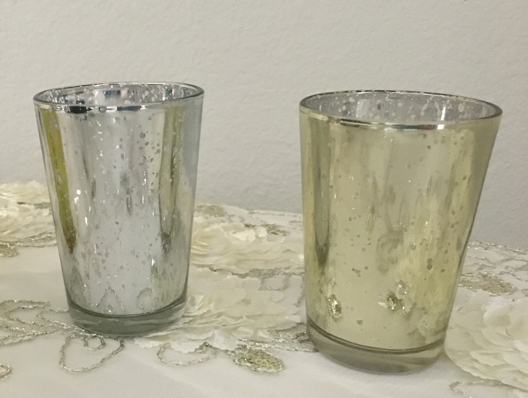 Silver & Champagne Tea Light Holders -- $1 each