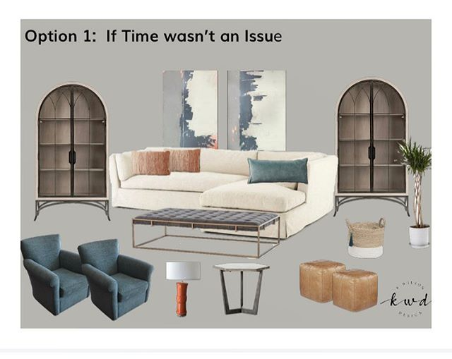 """Client Design Option 1... trying to design a room in under 3 weeks is TOUGH so we pulled together an aspirational room and a """"oh sh+t, we ain't got time"""" room!  Can't wait to see what happens..."""