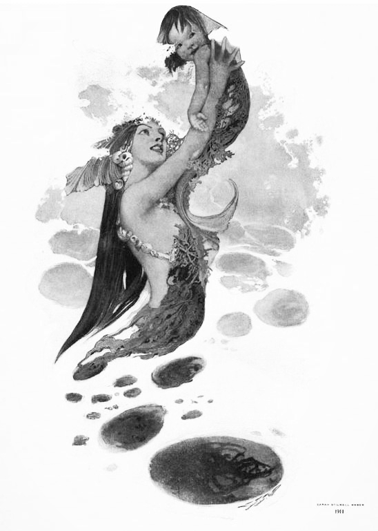 Mermaid with Merbaby (1911) Collier's Magazine