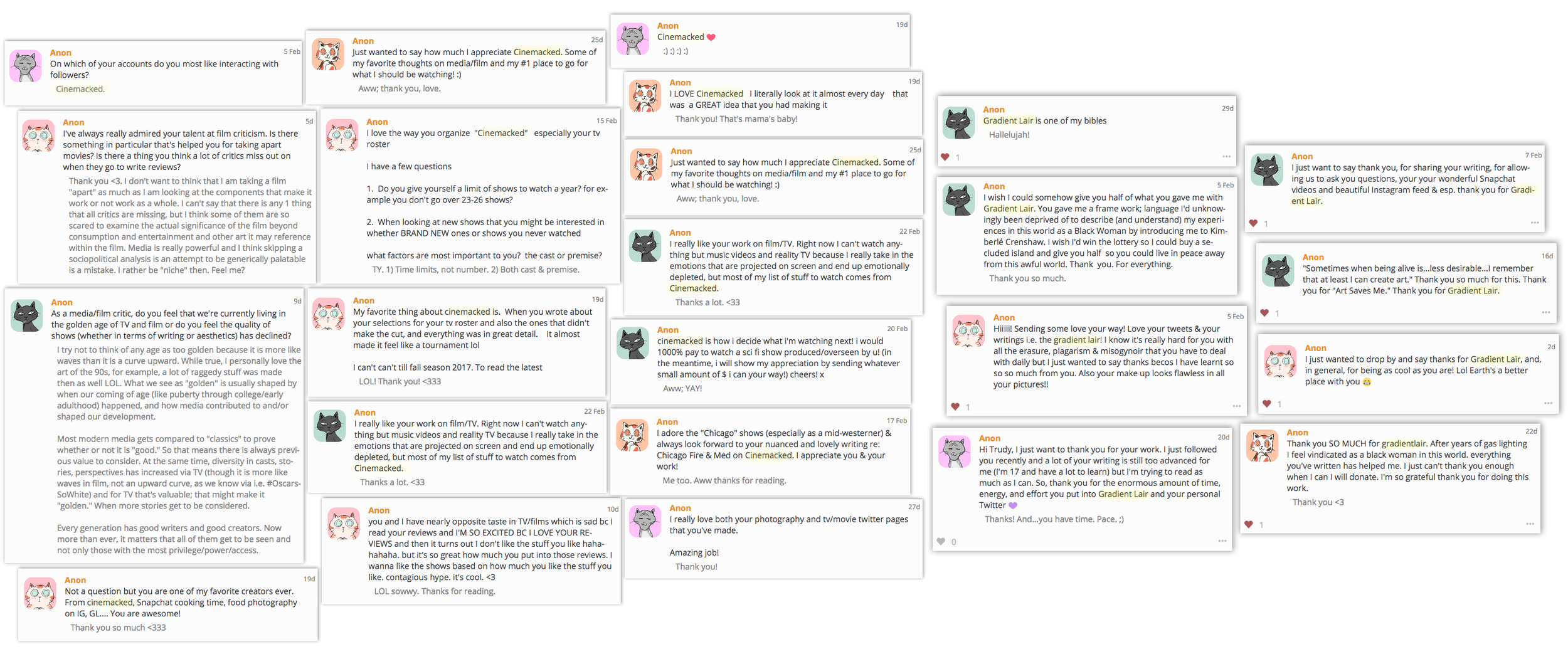 Some of my favorite past Curious Cat feedback on  Cinemacked  and  Gradient Lair .
