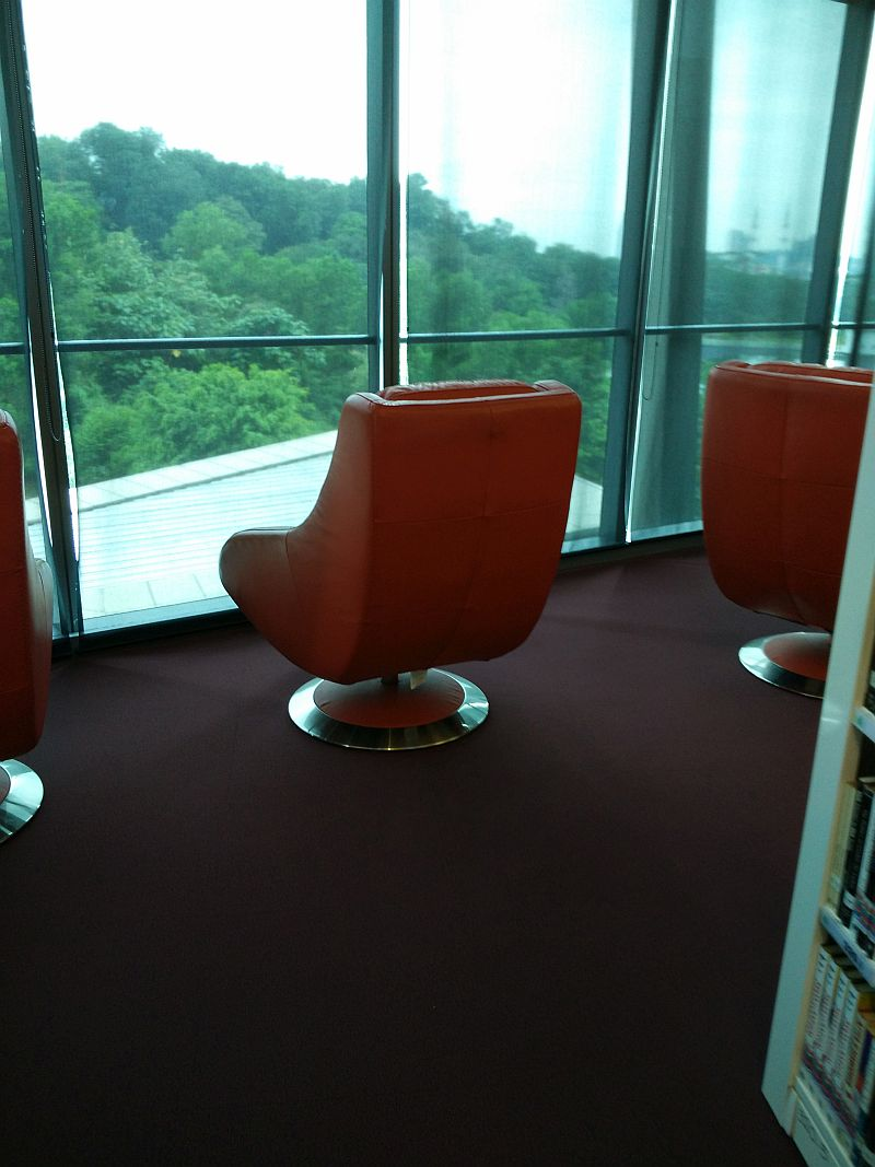 Sitting areas have a view of the greenery around the library.