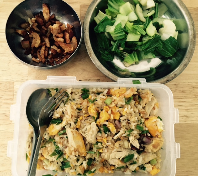 One of the yummiest meals I've made: Fried rice with vegetables and some crispy pork belly.