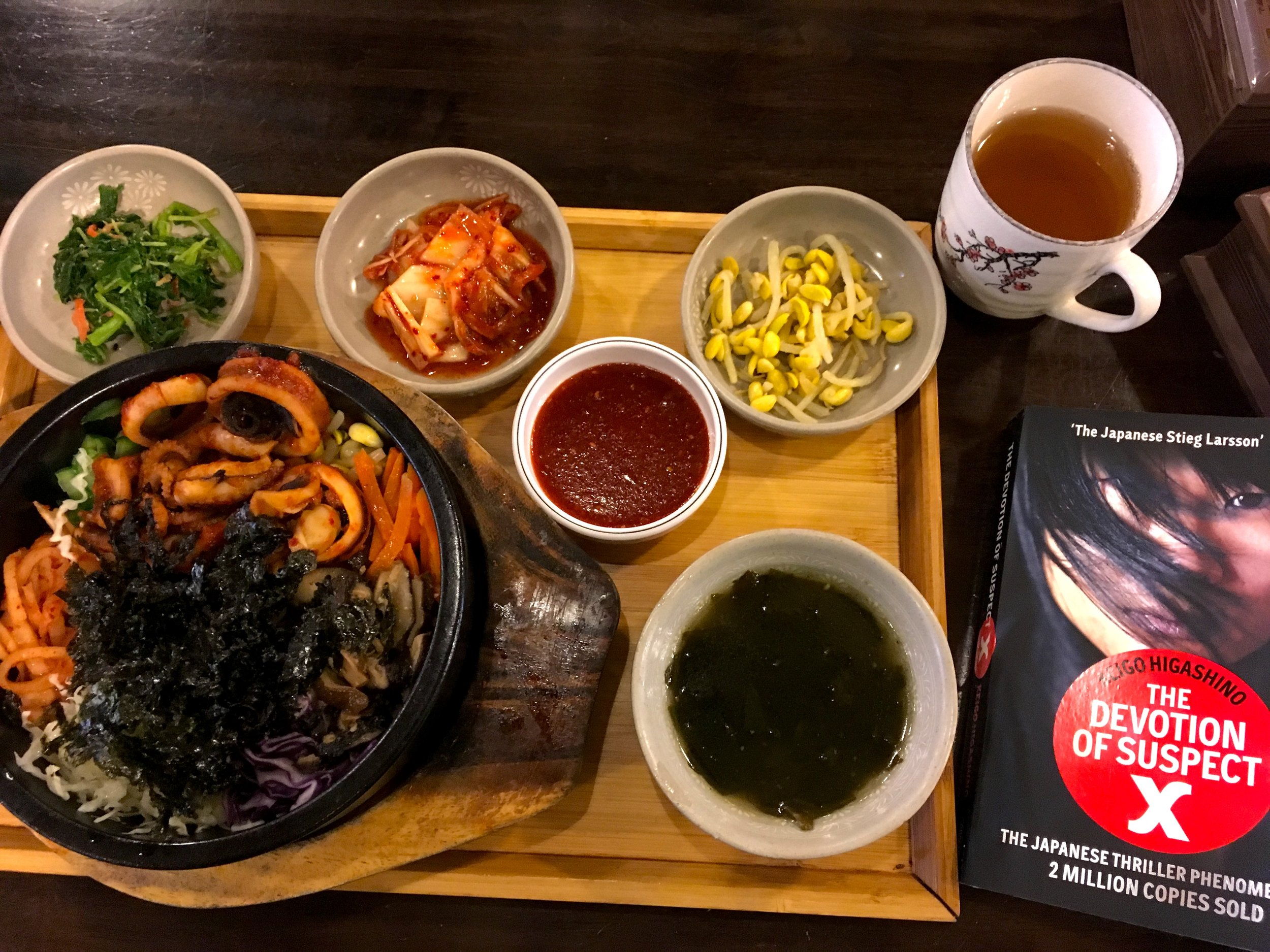 A Korean meal with a Japanese novel. I think the Bibimbap at Oishii (there are several branches in Petaling Jaya) is the best in town and I regularly go there to get my favourite Korean dish. They don't skimp on the vegetables, the price is right, and the sauce is yummy. Highly recommended!