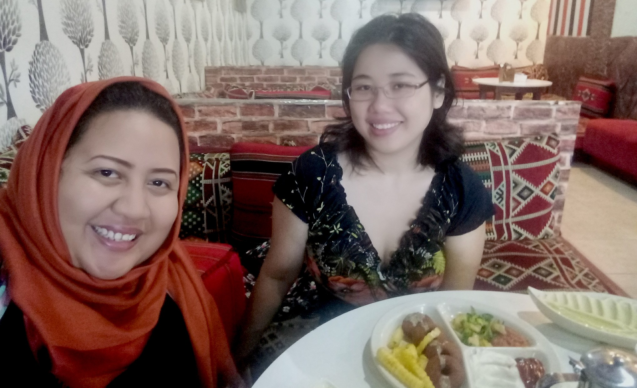 Atiqah and me hanging out at a Syrian restaurant.