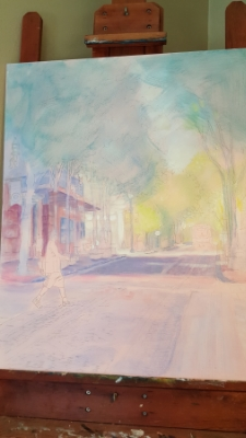 """I began with a pale underpainting, something I rarely do. The canvas is large, 24"""" x 30"""", so I needed to see it mapped out before I could begin."""
