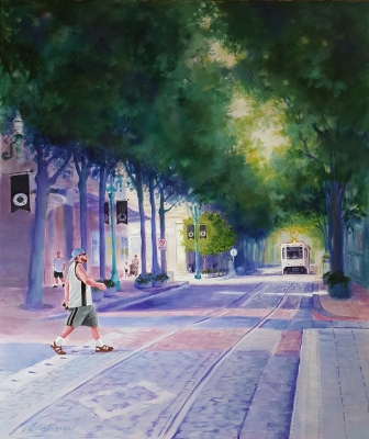 This is the finished painting, entitled Portland Swagger.It was featured in the Love of Portland exhibit, The People's Gallery of Portland.