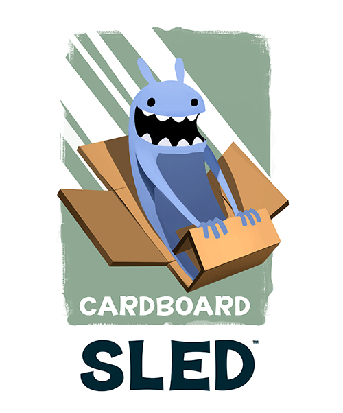 Cardboard Sled, a logo I created for a friends independent game studio.