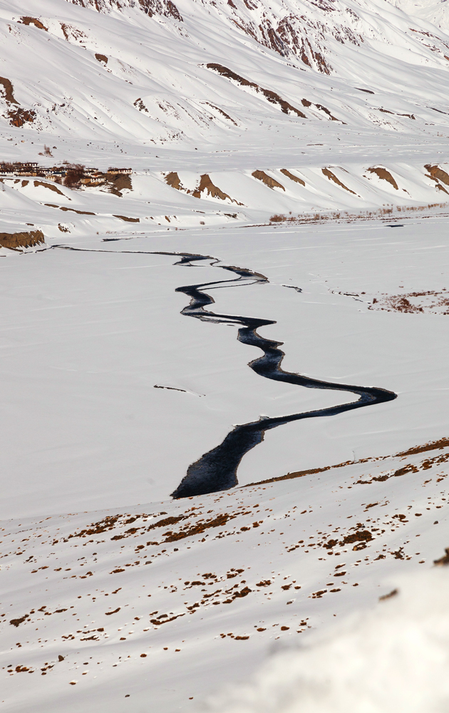 River Spiti flows through the icy landscape. It is the only water source for the people of the valley and flows down from the glaciers on the top of the Kunzum la. It further travels down to join the river Sutlej, near Pooh which comes down form Tibet.