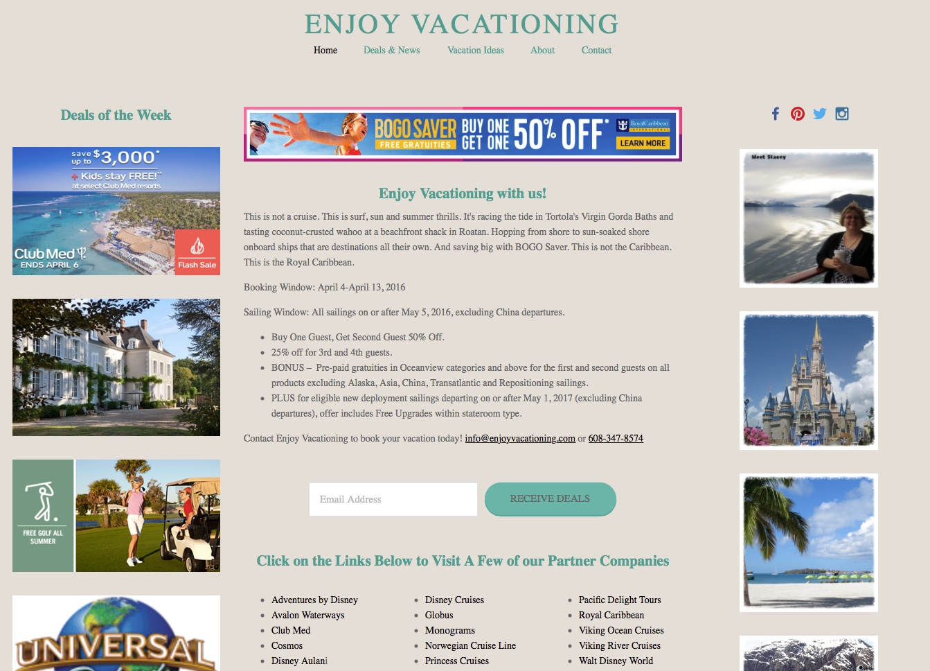 New Enjoy Vacationing website makes it easier to find travel deals and content!
