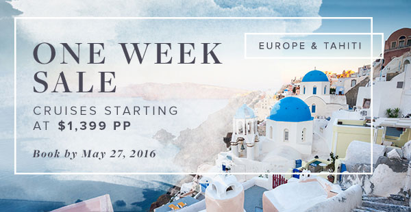One Week Sale on Windstar - Cruises starting at $1,399 per person. Ends May 27. info@enjoyvacationing.com