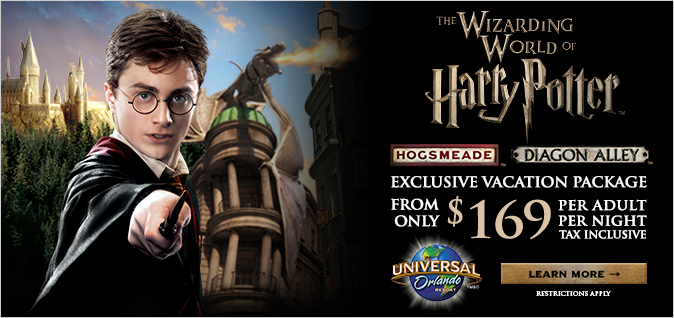 Universal Studios Florida Harry Potter Package starting at $169 per adult per night
