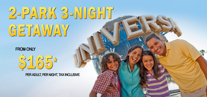 Universal Theme Park 2 Day Getaway starting at $165 per person per night for 2017 from EnjoyVacationing.com