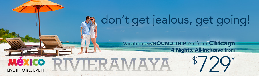 Riviera Maya from $720 per person round trip Chicago