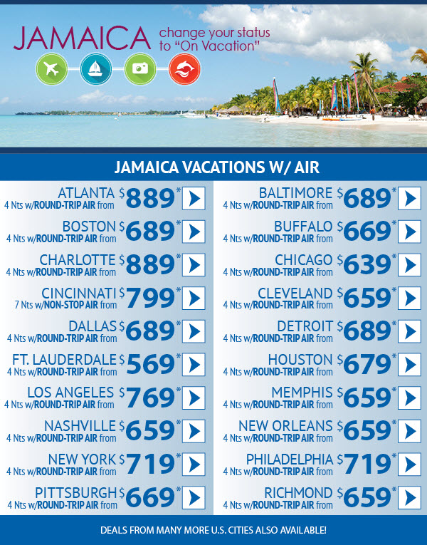 "Change your status to ""On Vacation"" - Jamaica deals from $639 from Chicago"