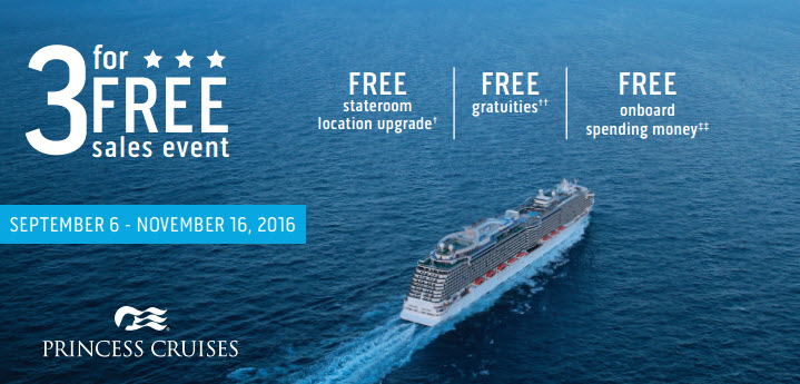 3 for Free Sales Event - Enjoy Vacationing travel agency brings you the best cruises and cruise sales! Info@enjoyvacationing.com to book your cruise today!