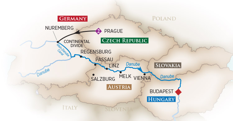 Map of Christmas Market Cruise - Sail the Danube at the Most Wonderful Time of the Year!