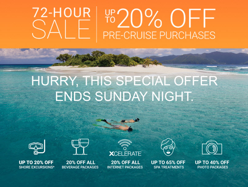 72 Hour Sale on Pre-Cruise Packages on Celebrity Cruise Line from EnjoyVacationing.com