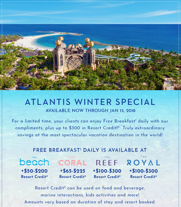 Now through January 15, 2018 from Enjoy Vacationing