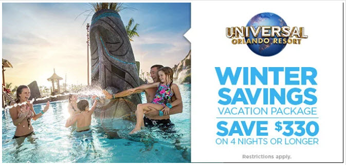 Save $330 on 4 night or longer Universal Orlando Resort Winter Vacation Packages