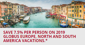 Save 7.5% on Europe, North and South America Tour Vacations