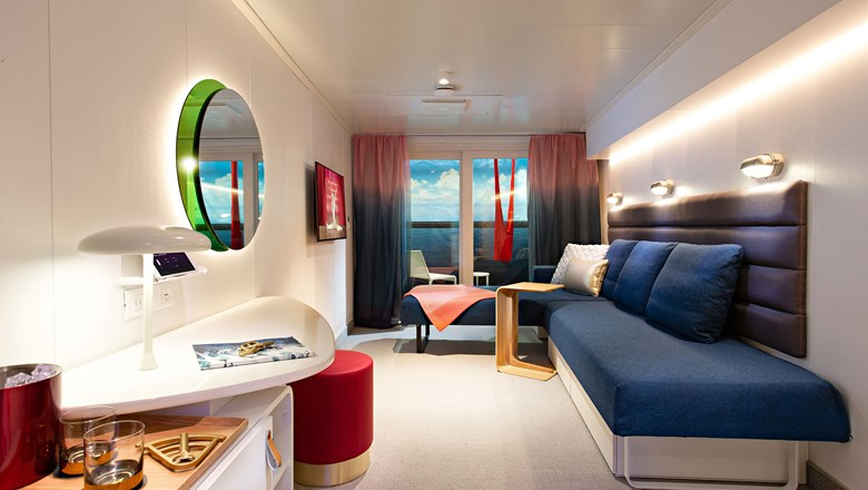 Virgin Voyages cabin in the daytime, when the Seabed is a lounger.