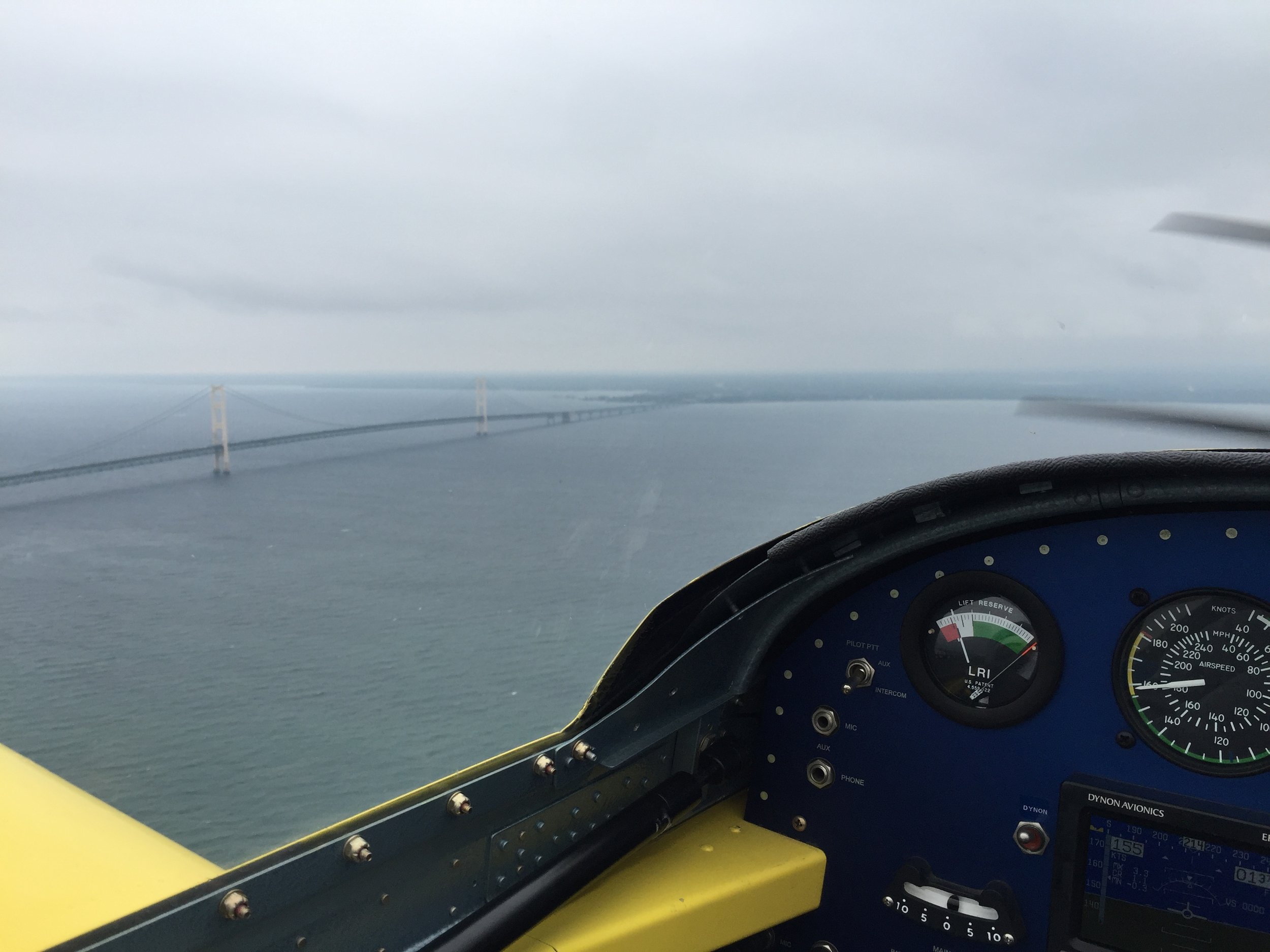 The famous Mackinac Bridge as we flew by on our way to Traverse City