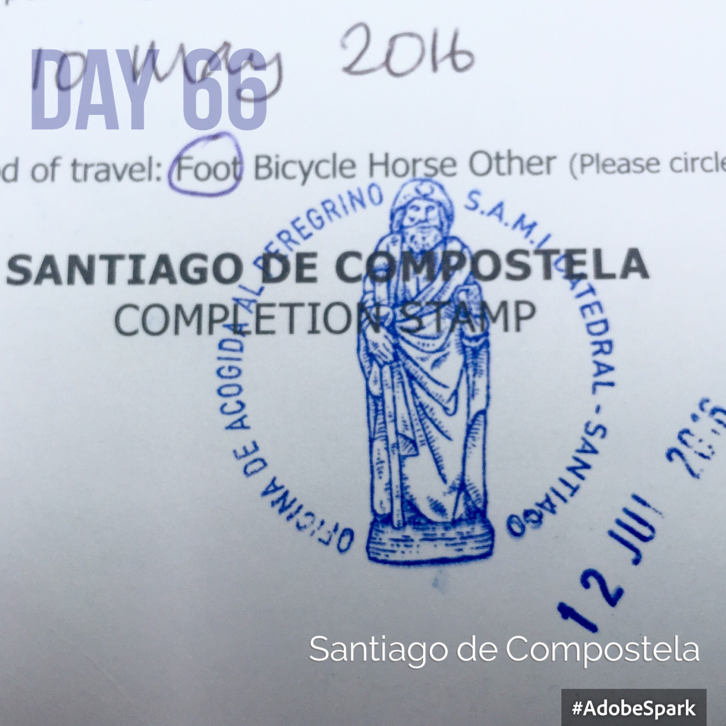 "The  ""Compostella""  is the official stamp to say I've completed my pilgrimage to Santiago."