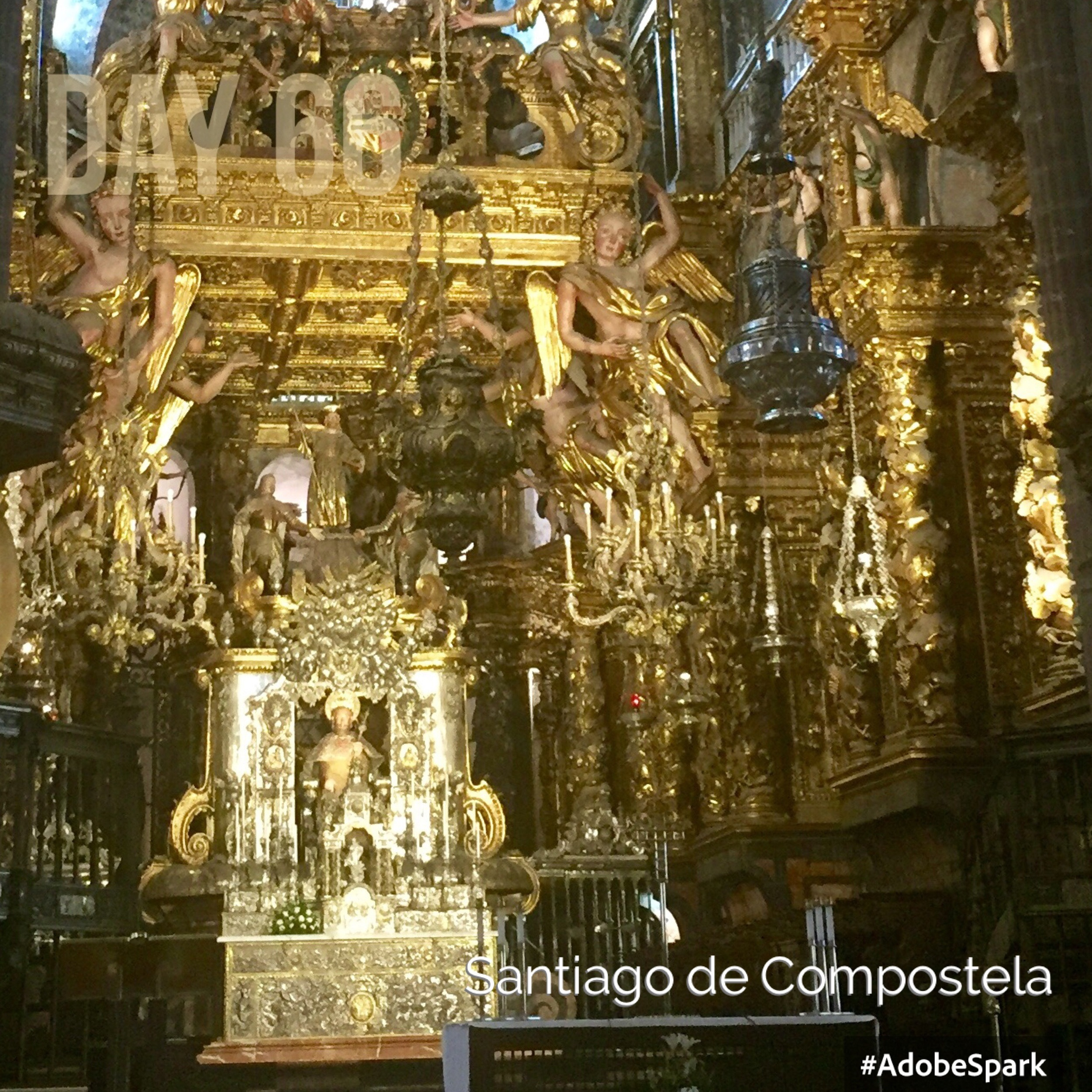 St James in his silver shrine is hugged by thousands of pilgrims! The giant silver incense burner (botofumerio) is in the foreground.